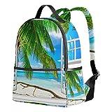 Ahomy Ocean Sky Window Sunny Summer - Mochila Ligera para Estudiantes, diseño de árbol de Coco