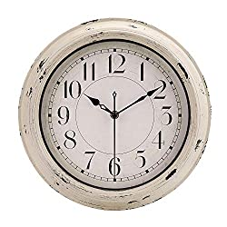 jomparis Antique Beige White Rustic Wall Clock Vintage Decorative Wall Clock Silent Non-Ticking Battery Operated Quartz Classic Round Wall Clock -12 Inch Easy to Read Retro Wall Clock