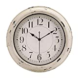 12 Inch Antique Beige White Rustic Wall Clock Vintage Decorative Wall Clock Silent Non-Ticking Battery Operated Quartz Classic Retro Round Wall Clock for Kitchen Living Room Office