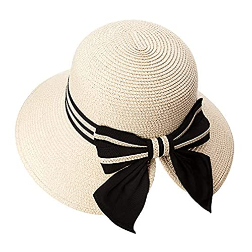 Sombrero para el Sol Sombrero de Paja de cubeta de Verano para Mujer Sol UV Protección Plegable Playa Playa Playa Señoras (Color : E, Size : L)