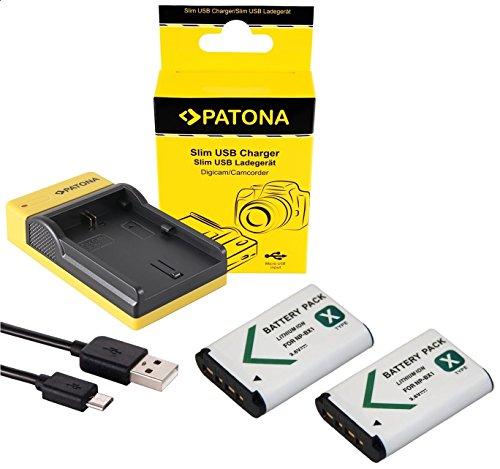 2in1-SET Slim Ladegerät + 2 Akku für die Sony CyberShot RX100 I II III IV V VI - kompatibel mit Sony Akku NP-BX1 - Ladeschale mit microUSB
