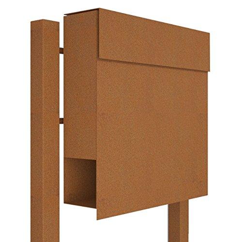 Standbriefkasten mit Zeitungsfach, Design Briefkasten Manhattan Stand Rost - Bravios