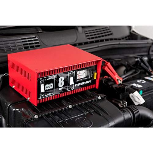 Absaar 77911 Batterie-Ladegerät für Auto/Motorrad 8A, umschaltbar 6/12V, rot/schwarz