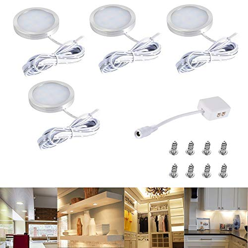 Faretti LED sottopensile luce calda with 12 LEDs, Set di 4 10W Luci da Incasso per Sottopensile, Cucina, Scaffali e Armadio, Luce bianca calda