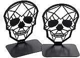 Sujetalibros de metal antideslizante para escritorio, para casa, oficina y escuela, diseño de calaveras