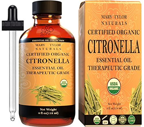 Organic Citronella Essential Oil (4 oz) USDA Certified by Mary Tylor Naturals (100% Pure and...