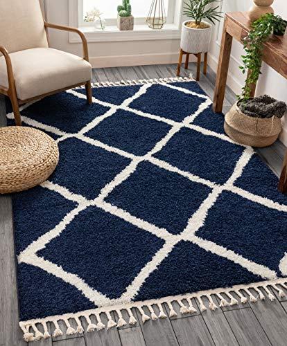 Strapazierfähiger Teppich, marokkanisches Haar, Rautenmuster, Hellblau, Synthetisch, rauten - blau, 220 x 160 cm
