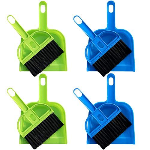 None/Brand Lmbqye Juego de Recogedor De Escoba Pequeña, 4 Piezas De Mini Recogedor y Juego De Cepillos Juego De Herramientas De Limpieza para Oficina, Hogar, Mesa, Cajón, Teclado (Color: Azul, Verde)