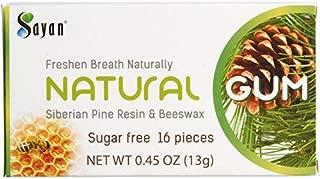 Sayan Sugar Free All Natural Gum, Siberian Pine Tree Resin and Beeswax Chewing Gum for Fresh Breath, Vegetarian, Non-GMO, No Sugar, Gluten Free, Aspartame Free, No Preservatives - 6 Packs (96 Pieces)