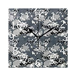 Wall Clocks Camo Black White and Gray Urban Camouflage Silent Non Ticking Digital Wall Clock Battery Operated Square Clocks for Kids Kitchen Bathroom Living Room Decorative School Home Bedroom Office