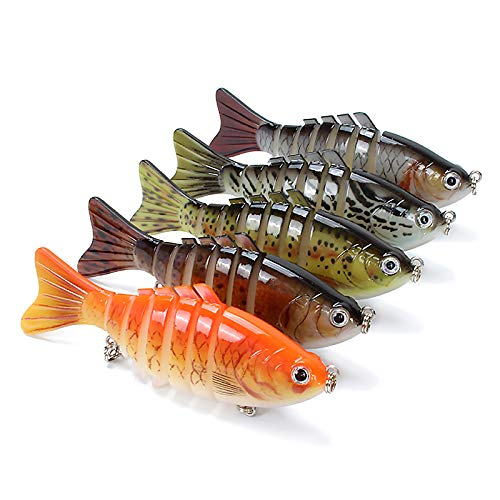Life Energy Supplier Fishing Lure Kit for Bass Trout Walleye 4 Multi Jointed Lifelike Swimbait 5 Pack
