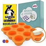 BAMBARAMBA® Babybrei Einfrieren - Extra große Aufbewahrung für Muttermilch & Selbstgekochte Babynahrung - Beikost-Behälter zum Einfrieren und Portionieren Orange