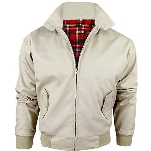 Army And Workwear Harrington-Jacke mit kariertem Futter, gefertigt in Großbritannien, Herren, mit Reißverschluss, Klassische Bomberjacke Gr. XL, Stone (BEIGE)