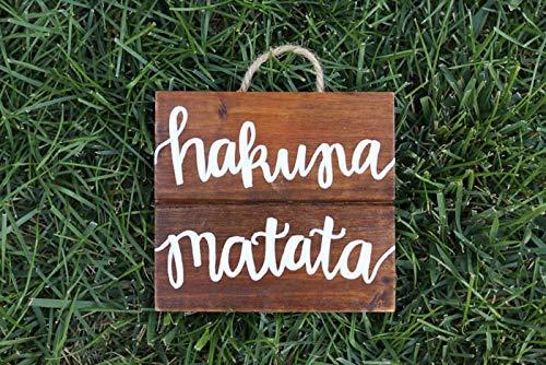 Eli231Abe - Cartel de madera de hakuna matata para pared, decoración del rey león de Disney
