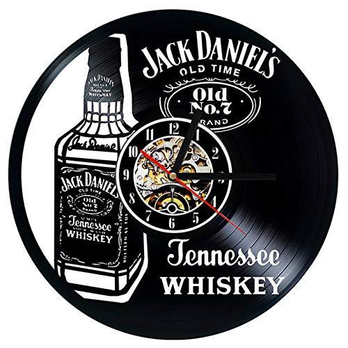 YUN Clock Wanduhr Aus Vinyl Schallplattenuhr Upcycling LED Jack Daniels Familien Dekoration 3D Design-Uhr Wohnzimmer Schlafzimmer Restaurant Wand-Deko Schwarz Ø: 30 cm (Lieferzeit: 10-18 Tage)