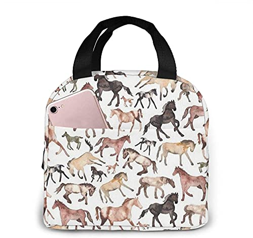 Florasun Bolsa de almuerzo para correr caballos bolsa de almuerzo para mujeres/hombres caja de almuerzo aislada