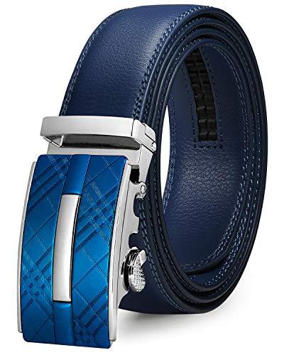 ITIEZY Automatik Gürtel Herren Designer Lederguertel Schnalle Herren, Blau 2, Länge: Bis zu 49,2 inches(125cm)