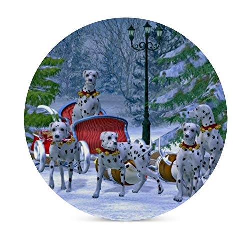Posavasos para bebidas, base de corcho, juego de 6 unidades, diseño vintage de trineo dálmata, nieve y Navidad, para el hogar y la cocina, regalo divertido para el hogar, regalos de Navidad