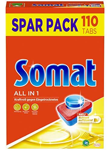 Somat 7 All in 1 Multi Aktiv, Spülmaschinen-Tabs, Sparpack, 110 Tabs, kraftvolle Reinigung mit Geruchsneutralisierer Funktion