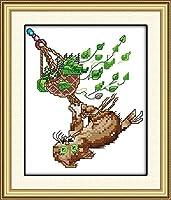 刺繍 ぶら下がっている猫クロスステッチ 刺繍セット 初心者向けスタンプ済み刺繍キット 刺しゅうキット 完璧な壁の装飾 キャンバス-11CT 40×50cm-フレームなし