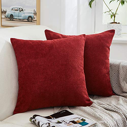 MERNETTE New Year/Christmas Decorations Thick Chenille Decorative Square Throw Pillow Cover Cushion Covers Pillowcase, Home Decor for Party/Xmas 18x18 Inch/45x45 cm, Burgundy, Set of 2