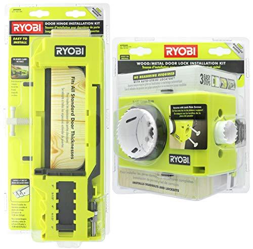 Ryobi A99HT2 Türscharnier-Installationsset / Einsteckschablone gebündelt mit Ryobi A99DLK4 Holz und Metall Türschloss-Installationsset für die Installation von Riegelbolzen und Schlosssets