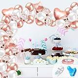 GRESAHOM 106 Pezzi Kit Ghirlanda Palloncino Bianchi Oro Rosa, Metallizzato Confetti Palloncini Kit Ghirlanda Arco Decorazione per Ragazze Festa Compleanno, Matrimonio, Anniversario