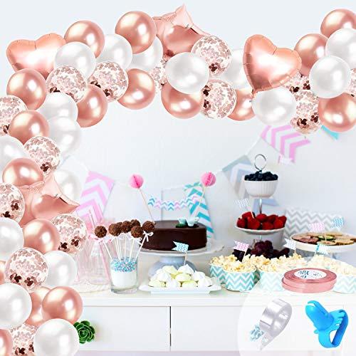 Kit de Guirnalda de Globos Blanco Oro rosa, 106pcs Blancos Globos Oro rosa Metalizados Globos Confeti para Despedida de Soltera Fiesta de Cumpleaños Aniversario Decoración