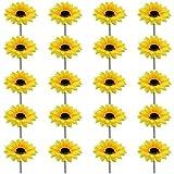 DXLing 20 Piezas Cabeza Girasoles Artificiales Amarillas Diámetro 9cm Girasoles Decoracion Flores...