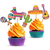 Mexican Fiesta Party Cupcake Toppers - 25 PCS - Cinco de Mayo Decorations Supplies Cactus Sombrero Maracas Pinata Guitar