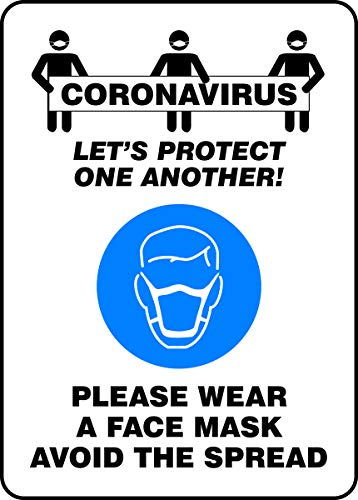 Accuform'CORONAVIRUS Lets Protect ONE Another! WEAR A FACE MASK' Sign, Plastic, 14' x 10'