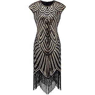 Izacu Flocc Women 1920s Art Deco Sequin Paisley Flapper Tassel Glam Party Dress (L, 143golden)