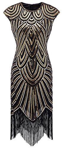 Izacu Flocc Vestito da sera, da donna, stile anni Venti e Art Deco, con paillette e nappe 143golden S