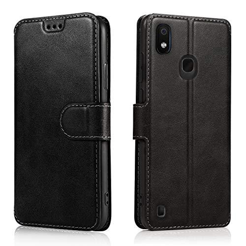 LeYi Cover per Samsung Galaxy A20e con HD Pellicola Protettiva, Custodia Flip Pelle Libro Silicone TPU Bumper Portafoglio Full Skin Fondina Morbida Scocca Antiurto Case per Smartphone A20e, Nero