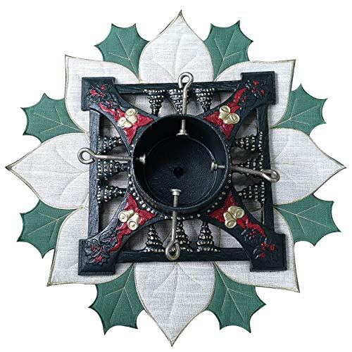 Halo Christmas Tree Stand - Iron Heavy/Solid Holding for Alive Christmas Trees Large + Embroidered Tree Stand Mat Dark Green