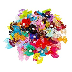 JpGdn 30Pairs/60pcs Dog Hair Bows for Small Medium Dogs Pets Animals Lace Hair Bow Ties with Rubber Band Hair Flowers Grooming Accessories Attachment