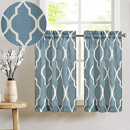 Grey Linen Textured Kitchen Curtains Moroccan Tile Design Cafe Curtains for Kitchen 45 inches Long Lattice Bathroom Window Treatment Set 2 Pairs Blue