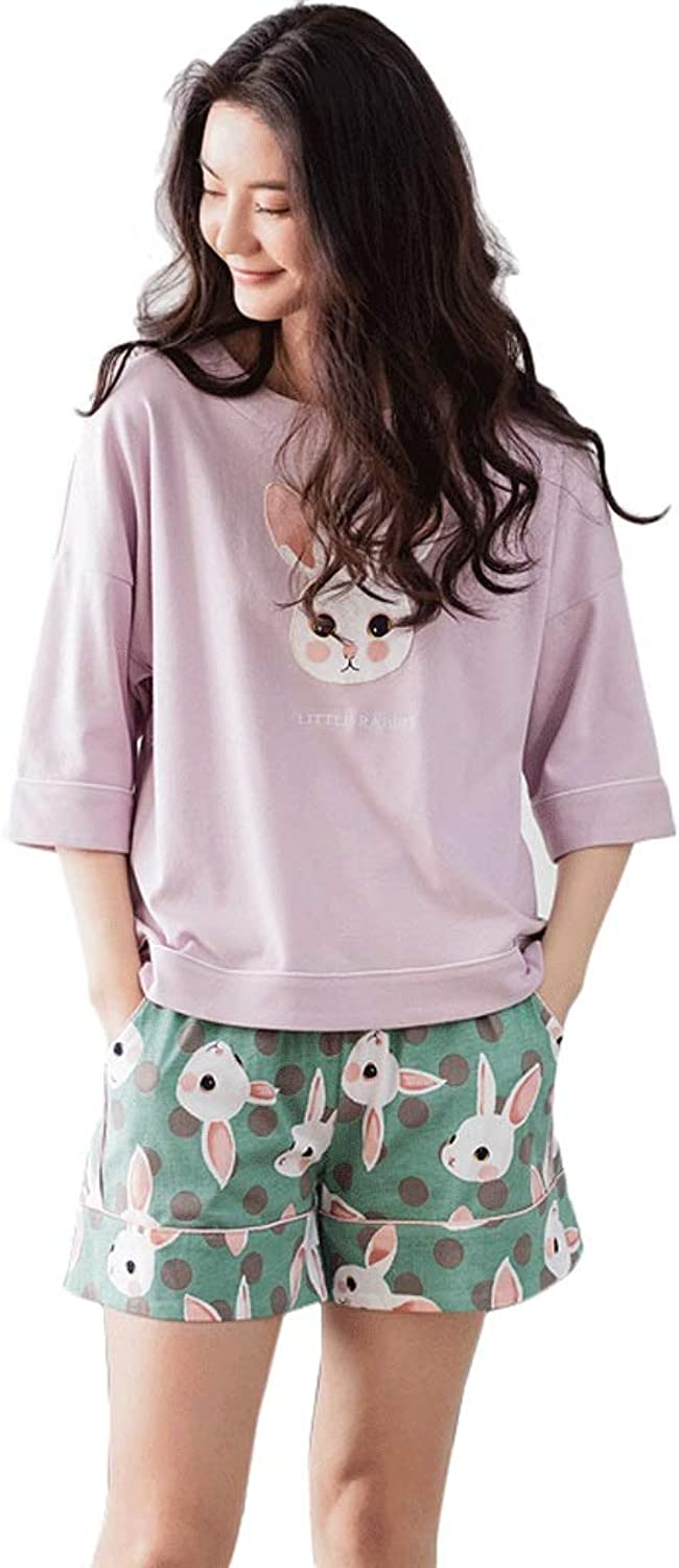 Summer Cotton Ladies Pajamas Cute Cartoon ShortSleeved Home Service Thin Section Casual ShortSleeved ShortSleeved Home Service Suit (color   Pink, Size   XL)