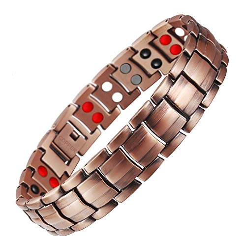JHKJ Mens/Womens Double Magnet Wide Copper Magnetic Recovery Healing Bracelet Pain Relief for Arthritis and Carpal Tunnel