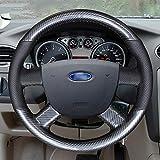 HCDSWSN Fundas para Volante de Coche,para Ford Kuga 2008-2011 Focus 2 2005-2011 C-MAX 2007-2010 Transit PU Cubierta de Volante de Cuero de Fibra de Carbono