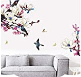 HALLOBO XXL Wandtattoo Magnolie Vogel Blumen Magnolia Wandaufkleber Wandsticker Wall Sticker Wohnzimmer Schlafzimmer Deko