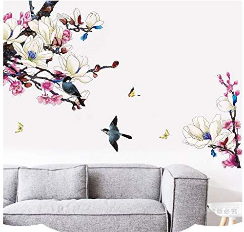 HALLOBO® XXL Wandtattoo Magnolie Vogel Blumen Magnolia Wandaufkleber Wandsticker Wall Sticker Wohnzimmer Schlafzimmer Deko