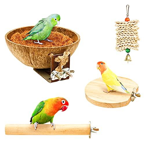 4er Natur Kokosnuss Vogelnest Set, Toller Vogelspielplatz Vogelkäfig Zubehör Vogel Spielzeug Inkl. Sitzstangen für Vögel Vogelsitzbrett Vogel Kauspielzeug für Wellensittich Nymphensittich Finken (H01)