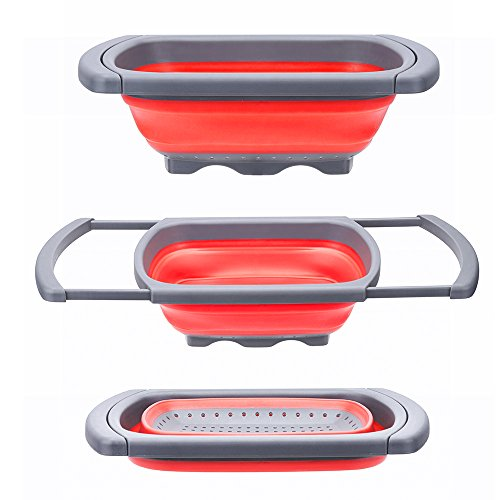 Glotoch Kitchen Collapsible Colander, Over The Sink Strainer With Steady Base For Standing, 6-quart Capacity, Dishwasher-Safe,BPA Free (Red&Grey)