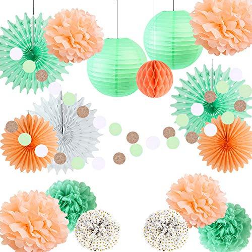Paper Flowers Décor Peach,Mint Green Paper Decoration Set Tissue Paper Fans Polka Dot Pom Pom Balls Circle Garland Wedding Shower Birthday Party