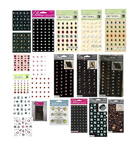 Jolee's Boutique - Adhesive Embellishments Assortment - 10 Different Styles, 30 Sheets Total - Studs, Rhinestones, gems