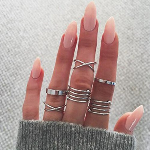 Yesiidor 6 Pcs Knuckle Rings Set Women Girls Fashion Vintage Midi Finger Band Rings Joint Ring Finger Stacking Rings Set Jewelry Gift