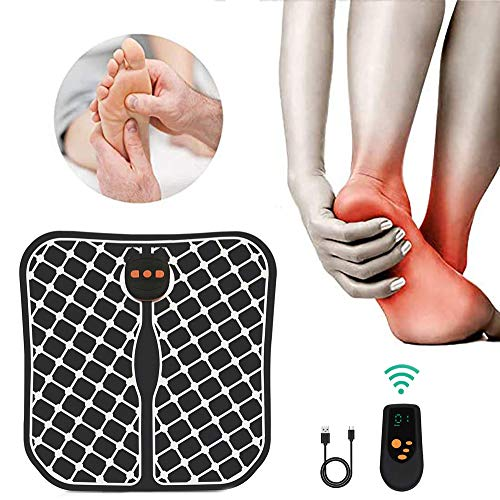 WARDBES Masajeador de pies electrico,vibrolegs, EMS Masajeador de Pie Plegable,2020 Nuevo Control Remoto inalámbrico Carga USB cojín de Masaje de pie Plegable masajeador de Pulso para Oficina en casa