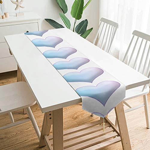 WOSITON Camino de mesa con forma de corazón hinchado, estilo nórdico, para mesa de café, 177,8 x 33 cm, el mejor regalo para cumpleaños a familias, blanco 229 x 33 cm