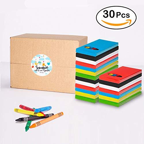 MegaPack de 30 Sets de Ceras para Colorear | Regalo Divertido para Invitados en Fiestas Infantiles de Cumpleaños en Colegio, Bodas y Eventos | 6 ceras de distintos colores NO Plomo No Pesticidas